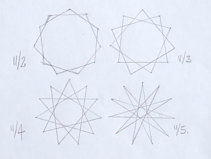 four versions of regular 11-point star